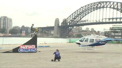 Travis Pastrana Helicopter Jump In Sydney | Nitro Circus