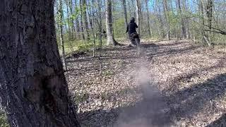Dirtbikes ride in forest